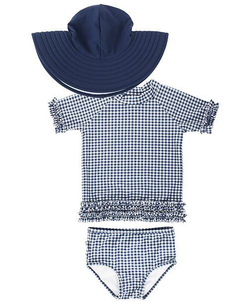 RuffleButts Toddler Girl's Ruffled Rash Guard Bikini Swimsuit Swim Hat Set, 2 Piece