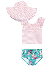 Baby Girl's Ruffled Tankini Swimsuit Swim Hat Set, 2 Piece