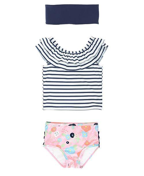 RuffleButts Baby Girls Ruffled Tankini Swimsuit Swim Headband Set, 2 Piece