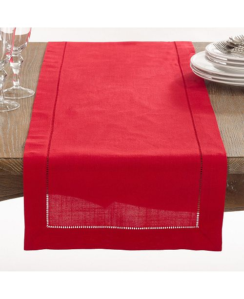 Saro Lifestyle Classic Hemstitch Border Table Runner