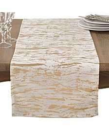Distressed Foil Metallic Design Glam Cotton Table Runner