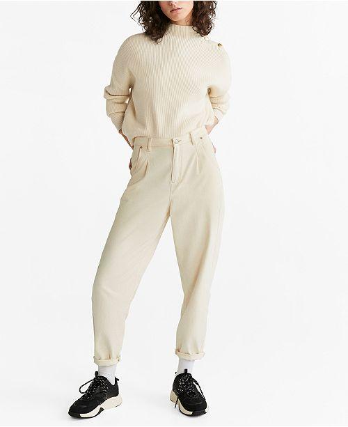 MANGO Button Collar Sweater