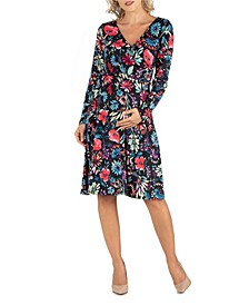 Floral Print Long Sleeve Maternity Wrap Dress