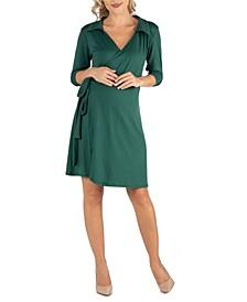 Knee Length Collared Maternity Wrap Dress