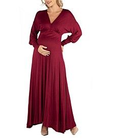 Formal Long Sleeve Maternity Maxi Dress