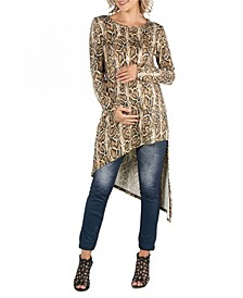 Long Sleeve Asymmetric Hem Snake Print Maternity Top