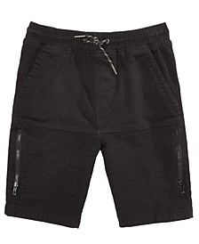 Big Boys Biker Twill Moto Shorts with Thigh Zipper Pockets, Created for Macy's