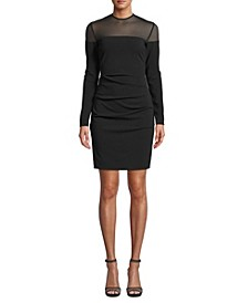 Ruched Mesh-Trim Dress