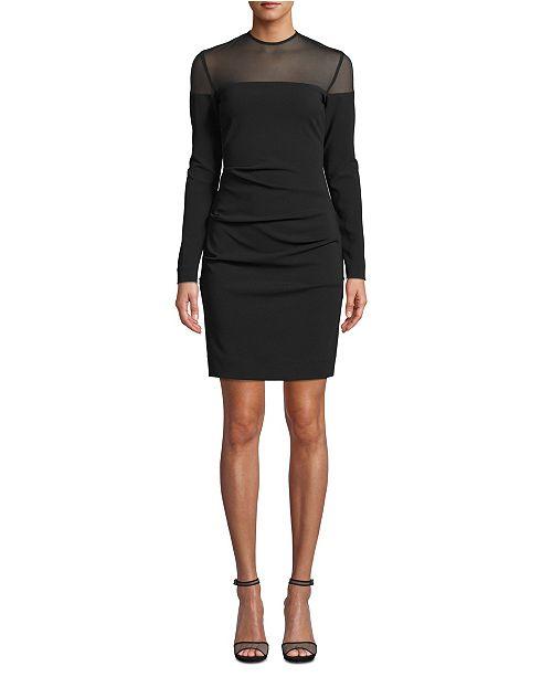 Nicole Miller Ruched Mesh-Trim Dress