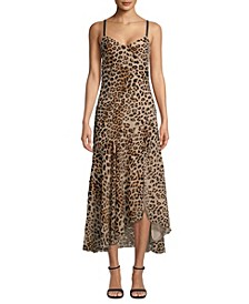 Leopard-Print Burnout Slip Dress