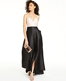 Juniors' Embellished-Strap Colorblocked Gown