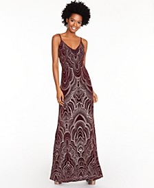 Juniors' Glitter-Pattern Gown