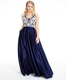 Juniors' Embroidered Satin Ball Gown