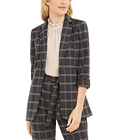 Plaid Open-Front Blazer
