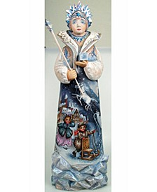 Woodcarved Snow Queen Santa Figurine