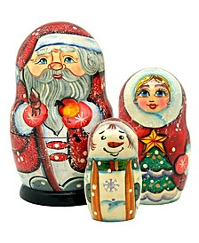 Santa Family with Snowmaiden and Snowman 3-Piece Russian Matryoshka Nested Dolls Set