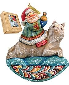 Santa On Wolf Ornament