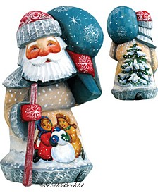 Woodcarved and Hand Painted Playing Snowman Santa Figurine