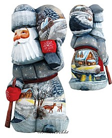 Woodcarved and Hand Painted Delightful Village Santa Figurine