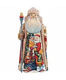 Woodcarved and Hand Painted Joy Santa Figurine Christmas Decor Woodcarved and Hand Painted 210114