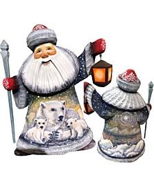 Woodcarved and Hand Painted Santa Polar Bear Family Santa Figurine