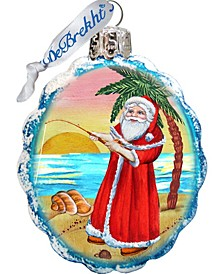 Flower Santa Coastal Glass Ornament