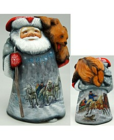 Woodcarved and Hand Painted Dr Zhivago Santa with Bear Figurine