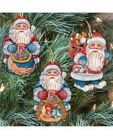 Holiday Gifts Santa Wooden Ornaments Wall Decor, Set of 3