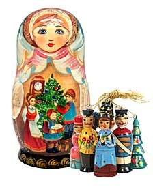 Christmas Night Treasure Surprise Matryoshka Wooden Doll with 5 Ornaments