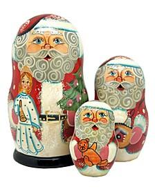 Santa with Angel 3-Piece Russian Matryoshka Nested Dolls Set
