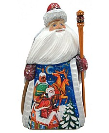 Woodcarved and Hand Painted Santa Chimney Figurine