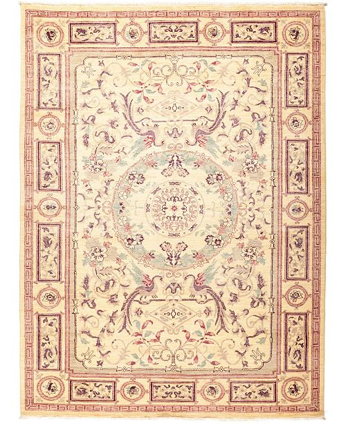 "Timeless Rug Designs CLOSEOUT! One of a Kind OOAK1295 Ivory 6'3"" x 8'9"" Area Rug"