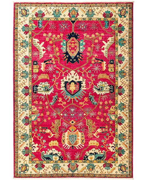 """Timeless Rug Designs CLOSEOUT! One of a Kind OOAK2894 Red 6'2"""" x 9'0"""" Area Rug"""