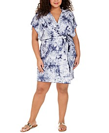 Plus Size Tide Pool Printed Cover-Up Kimono
