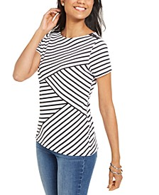 Petite Asymmetrical-Stripe Top, Created for Macy's