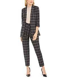 Petite Plaid Open-Front Blazer, Mock-Neck Top & Tie-Waist Dress Pants