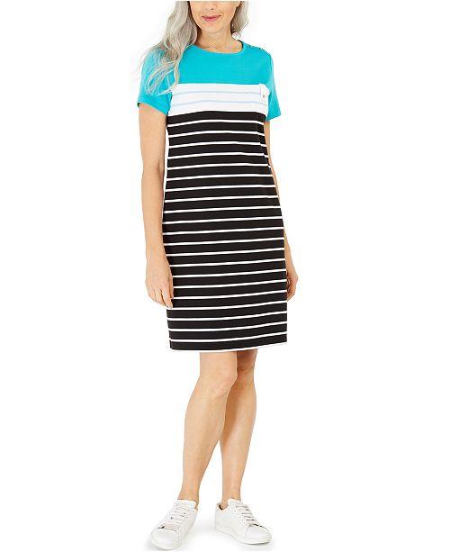 Karen Scott Sport-Stripe Dress, Created for Macy's