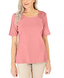 Karen Scott Cotton Crochet-Front Top, Created for Macy's