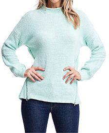 Fever Mock-Neck Zipper-Trim Sweater