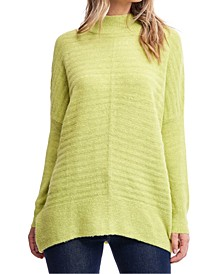 Mock-Neck Textured Sweater