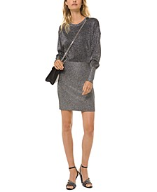Metallic Blouson-Sleeve Dress