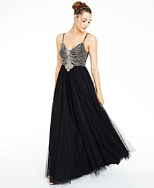 Juniors' Beaded Mesh Gown, Created for Macy's