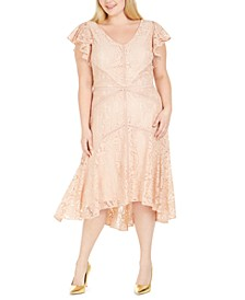 Plus Size Flutter-Sleeve Lace Dress