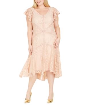 1930s Plus Size Dresses | Art Deco Plus Size Dresses Taylor Plus Size Flutter-Sleeve Lace Dress $129.00 AT vintagedancer.com