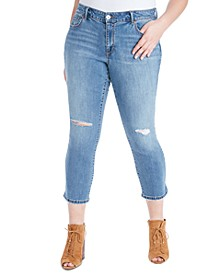 Trendy Plus Size Arrow Straight-Leg Ankle Jeans
