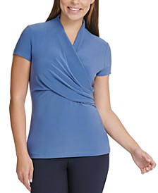 Surplice-Neck Ruched Top