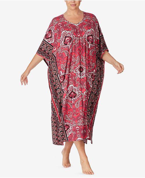 Ellen Tracy Plus Size Paisley Knit Caftan, Online Only