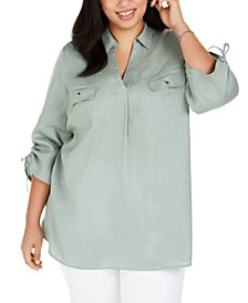 Plus Size Linen Collared Top, Created for Macy's