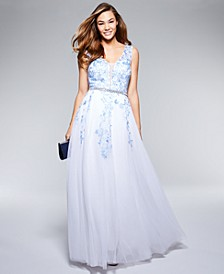 Juniors' Embellished Embroidered Gown, Created For Macy's