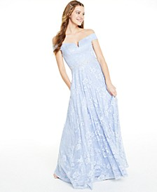 Juniors' Off-The-Shoulder Sequined Lace Gown, Created for Macy's
